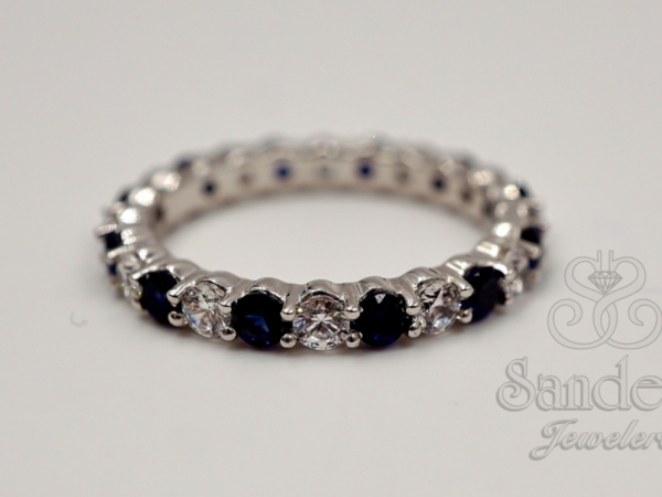 Sapphire and Diamond Eternity Band by Caro 74