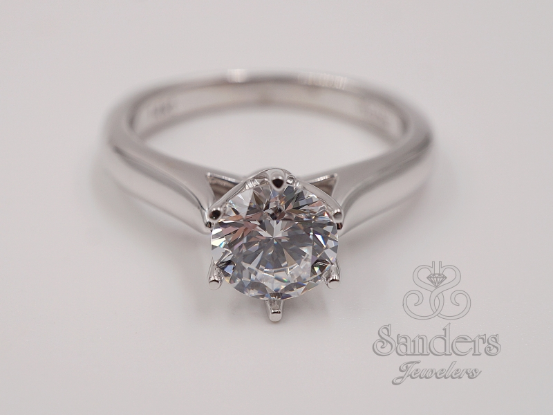 Crown Style Solitaire Engagement Ring by Valina