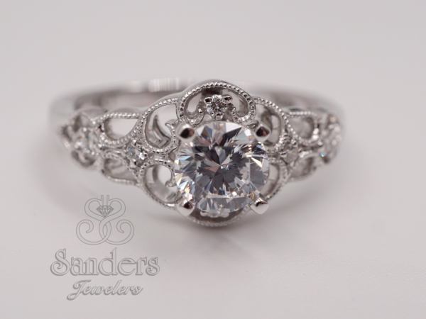 Filigree Lattice Diamond Engagement Ring by Valina