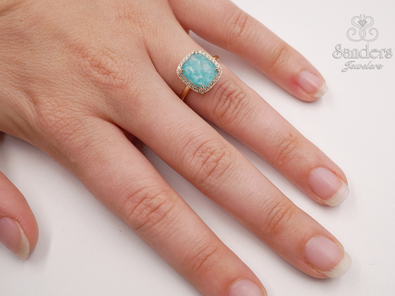 Amazonite and Diamond Ring by Dove