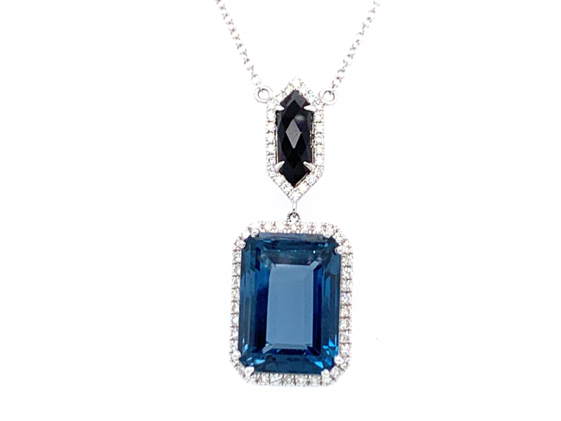 London Blue Topaz and Onyx Pendant by Dove