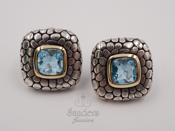 Two-Tone Blue Topaz Earrings by Zina Sterling