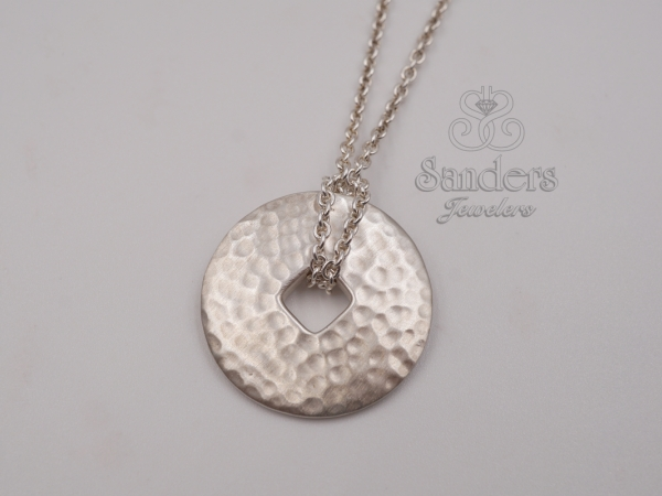 Hammered Disc Pendant by Zina Sterling