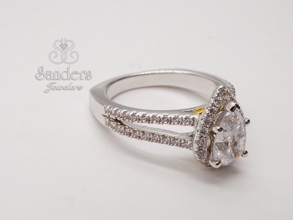 Pear Halo Diamond Engagement Ring by Valina