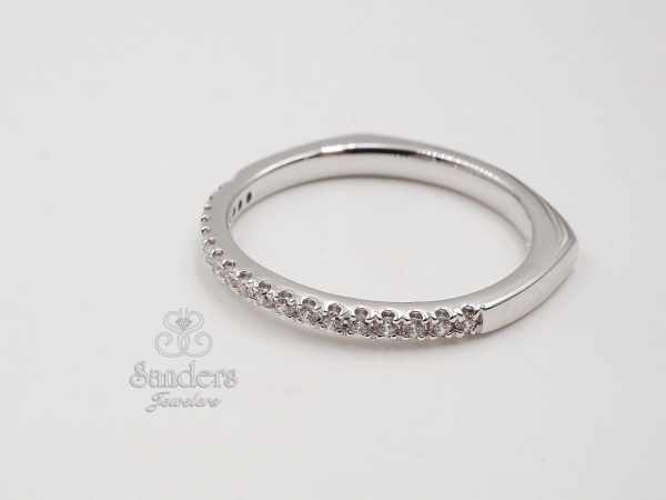 Subtly Curved Diamond Wedding Band by Valina