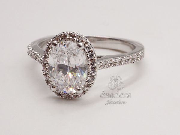 Oval Halo Engagement Ring by Valina