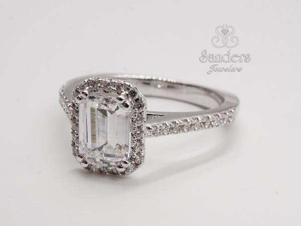 Emerald Cut Halo Engagement Ring by Valina